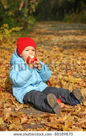 Little boy with big red apple sitting on the autumn leaves