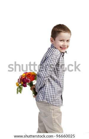 little boy with bouquet of flowers for mothers day on white background