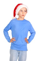 little boy with christmas hat isolated in white
