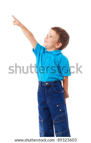 Little boy with empty pointing lifted up hand, isolated on white