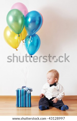 little boy with gift
