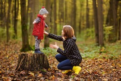 Little boy with his young mother during stroll in the forest. Active family time on nature. Fun with little kids in fall days