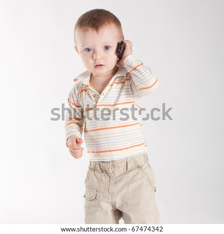 little boy with mobile phone