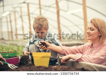 little boy with mother. mother and little boy working in modern greenhouse garden. mother and little boy planting tree. happy day of mother and little boy. family