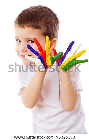 Little boy with painted hands, isolated on white