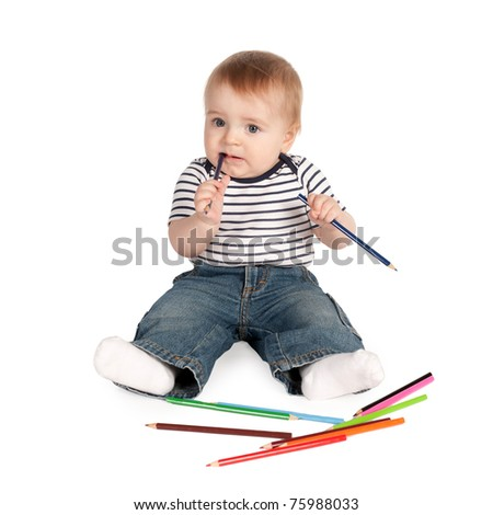 little boy with pencils isolated