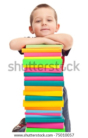 little boy with pile of books, isolated on white