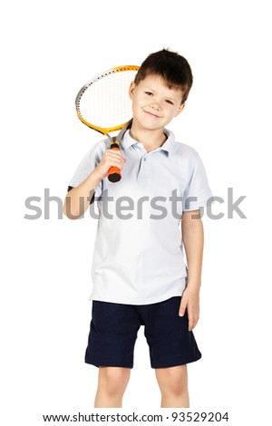 little boy with racket