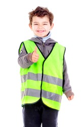 little boy with reflective vest isolated in white