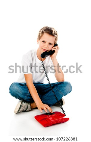 little boy with telephone isolated on a white background