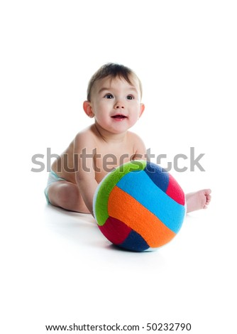 Little boy with the ball on white background