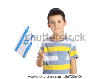 Little boy with the flag of Israel on white background Stok fotoğraf ©