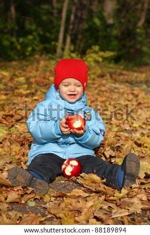 Little boy with two apples on autumn leaves