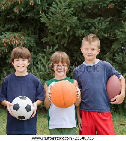 Little Boys With Sports Balls