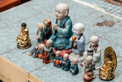 Little Buddha miniature statues at the Gumyeongsa Temple. Busan, South Korea