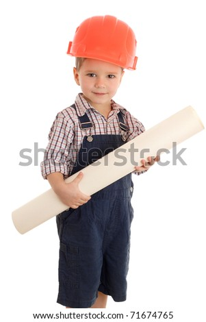 Little builder in coveralls and helmet with blueprint, isolated on white