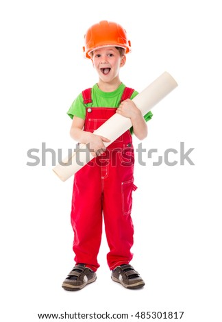 little builder standing in red...