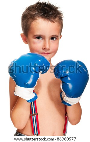 Little bully boy with black eye in boxing gloves wet isolated on white