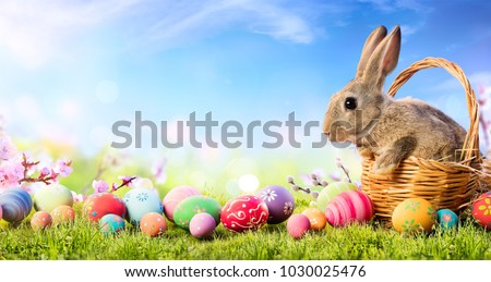 Little Bunny In Basket With Decorated Eggs - Easter Card  #1030025476