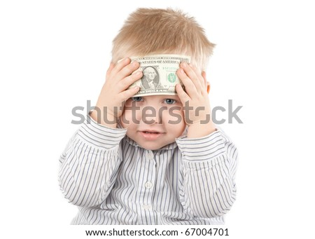 Little businessman with money against white background