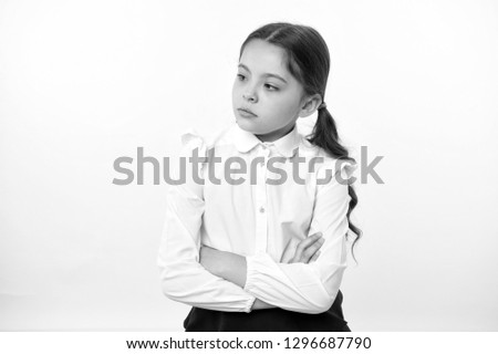 little businesswoman. little businesswoman on yellow background. business lady. little businesswoman with serious and confident look. formal fashion for little businesswoman #1296687790