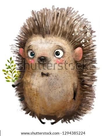 little cartoon watercolor hedgehog with leaves