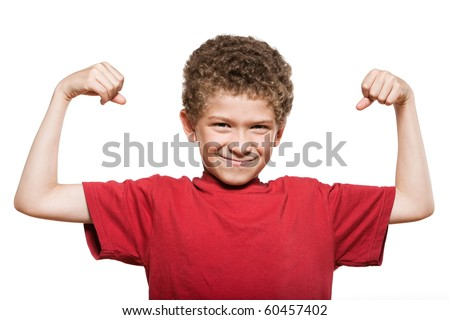 little caucasian strong boy portrait showing muscles mischief isolated studio on white background