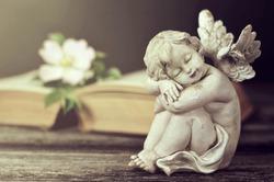 Little cherub sleeping on rustic wooden background