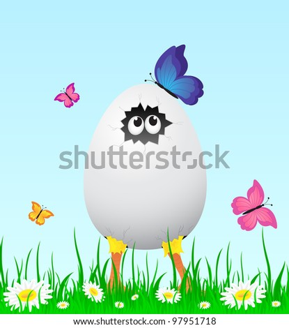 Little chicken in the grass with butterflies, illustration - stock photo