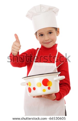 Little chief-cooker with thumbs up and pot, isolated on white