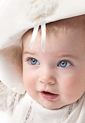 little child baby smiling on white background