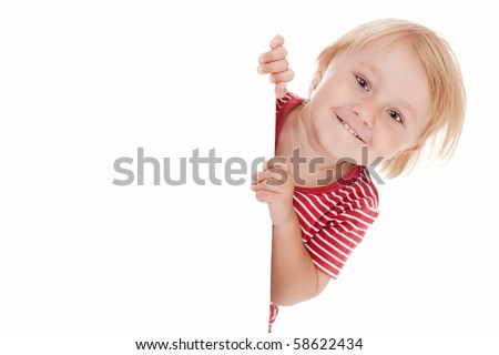 little child behind white board