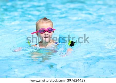Free Photos Little Happy Child Enjoying Swimming Pool Cute Toddler Girl Wearing Colorful