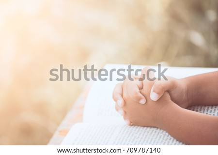 little child girl hands folded...