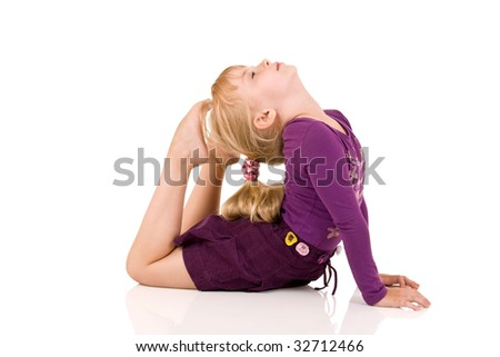 Little child gymnast - stock photo