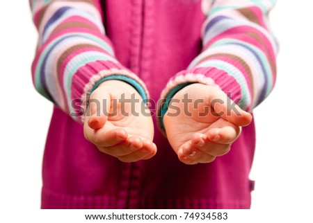 Little child hands open. Isolated on white background