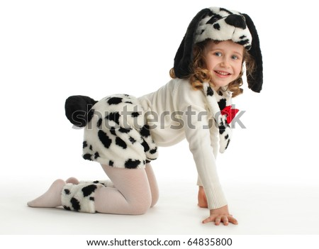 Little child in costumes dog
