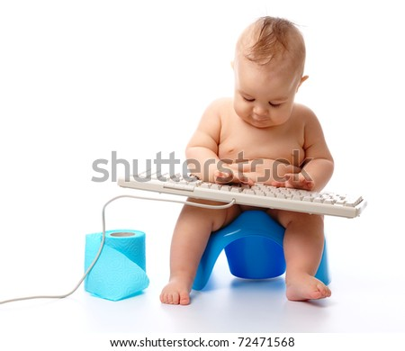 Little child is typing while sitting on potty, isolated over white
