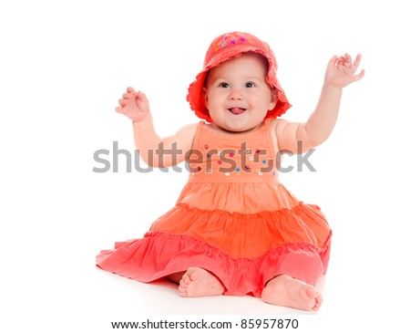 little child isolated on a white background