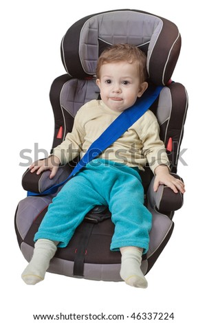 Little child on vehicle car safety seat with belt