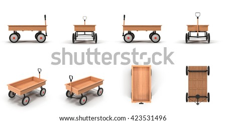 Little Child's Toy Wagon isolated on white 3D Illustration
