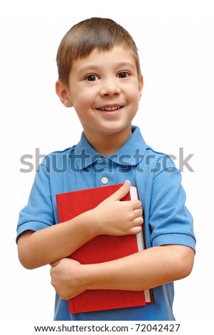 Little child with book isolated on white background