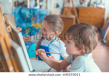 Little children in studio