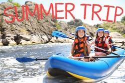 Little children kayaking on river. Summer trip