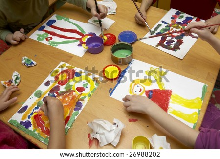 pictures for painting for children. children painting during