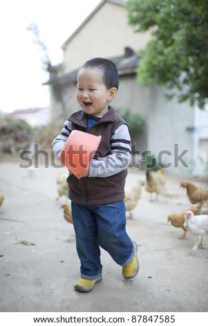 Little chinese boy feeding the chickens and the goat in the countryside