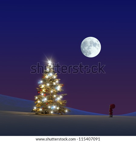 Little Christmas Gnome in front of an illuminated Christmas tree 3D