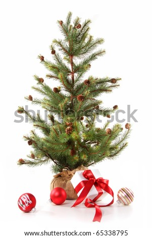 Little christmas tree with red ribbon gifts on white background