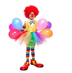 little clown girl holding the balloons isolated on white