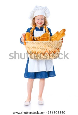 Little Cook With A Backet With Bread. Isolated on white background.